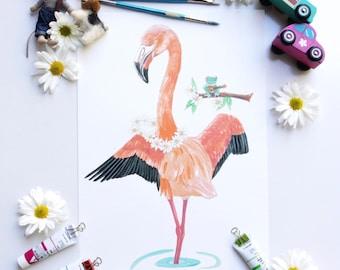 Flamingo print - childrens wall art - dancing print - girls bedroom prints - childrens illustration - girls art prints