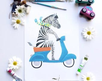 Zebra riding a vespa print - childrens wall art - vespa probt - animal art - childrens illustration - boys bedroom decor - african animals