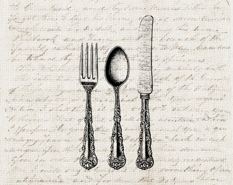 Kitchen Digital Download Antique Silverware Flatware Set Fork Knife Spoon Set Graphic Printable Craft Transfer Scrapbook INSTANT DOWNLOAD