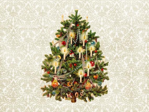 image 0 - Christmas Tree Die Cuts Vintage German Scrap Scrapbook Etsy