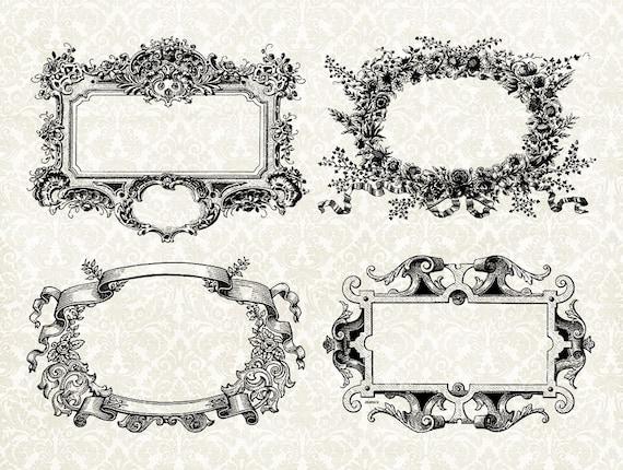 Digital Frame Collage 4 Ornate Vintage Antique Frames Set | Etsy