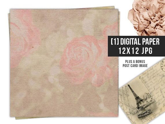 12x12 Pink Floral Digital Paper Scrapbook Antique Background