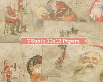 7 Santa Digital Paper Backgrounds - Vintage Antique Santa Claus St. Nick Scrapbook Paper Background Craft Paper - Old Wrinkled Holiday Paper