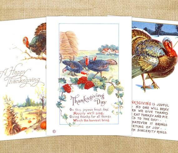 3 Digital Thanksgiving Vintage Cards - Antique Turkey Thanksgiving Digital Card - Old Color Turkey with Text - INSTANT DOWNLOAD