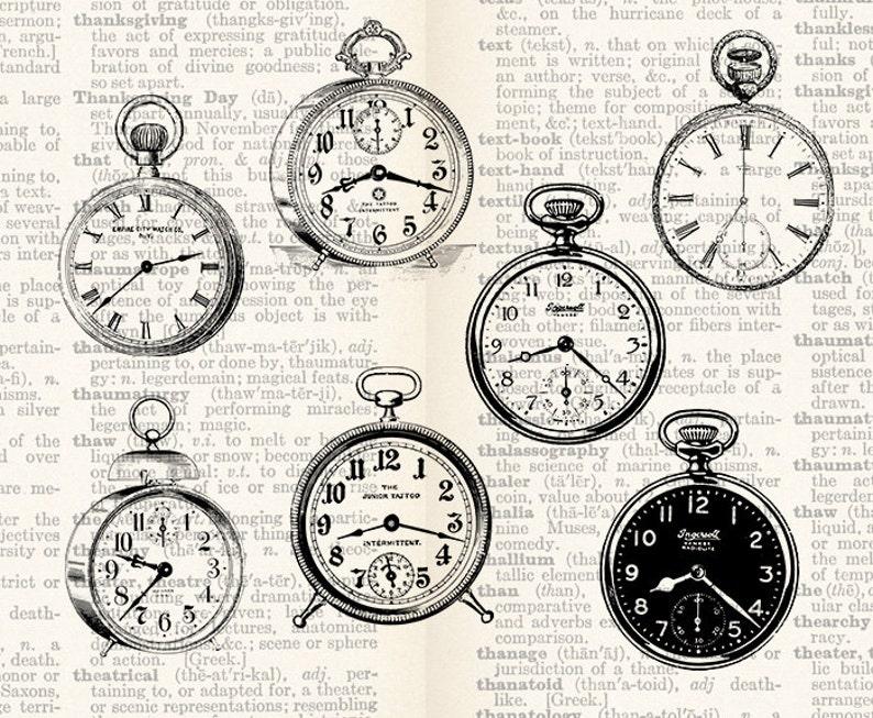 Digital Collage Sheet - 7 Vintage Old Clocks - Vintage Time Clock Faces  Graphics Images Clipart Individual PNG & JPG INSTANT Download