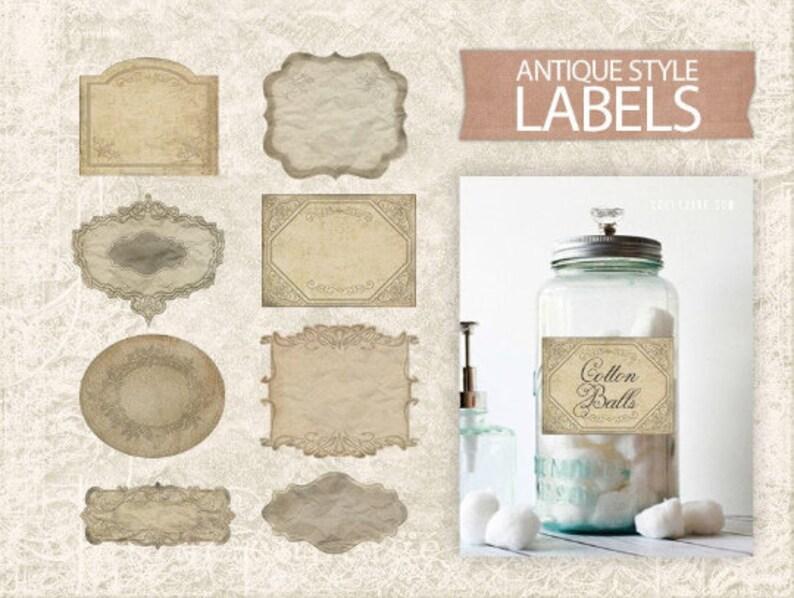 Kitchen Organization Digital Vintage Labels  Antique Printable Labels  Digital