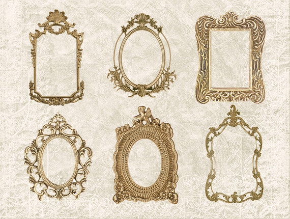 Digital Collage Sheet 6 Gold Ornate Vintage Antique Frames Set
