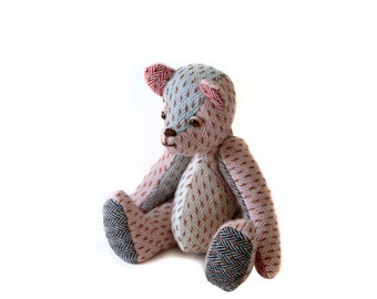 Tweed Patchwork Stuffed Teddy Bear /Handmade Retro Style Bear