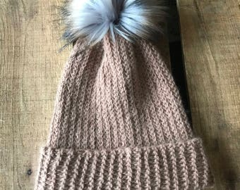 Tan Faux Fur Pom Pom Hat