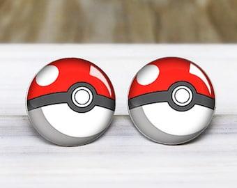 Pokeball Stud Earrings - Pokemon Earrings - Hypoallergenic Earrings for Sensitive Ears