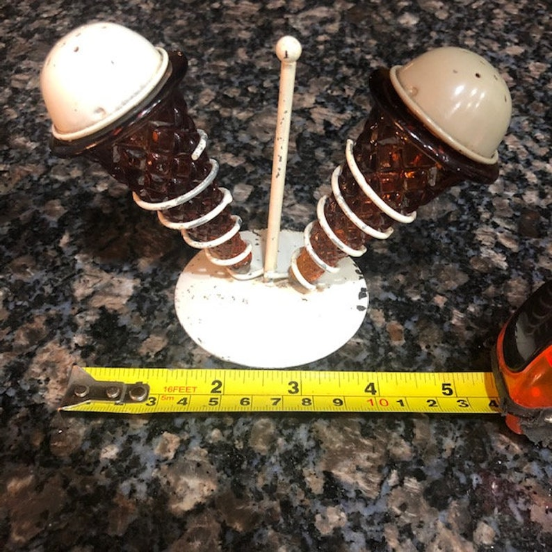 Ice Cream Cone Salt and Pepper Shakers with metal stand Vintage