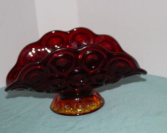 Vintage Ruby  & Amberin Footed Banana Bowl Compote