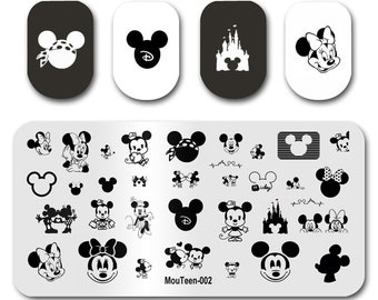 Mouteen-002 Cartoon Mouse  Nails Stamping Plate Cartoon Nail Stamper Template Stamping Plate For Nails