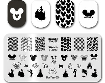 Mouteen-009 Cartoon Mouse Nail Stamping Princess Alice Nail Stamper Template For Nails Art Design