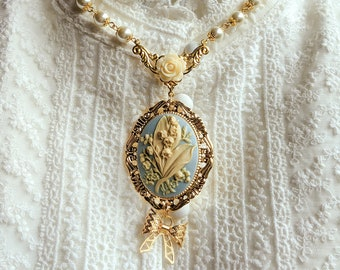 Lily of the Valley - Pendant Cameo Necklace - now in light/sax blue, pink/green, and pink/white