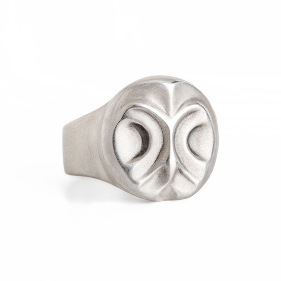 Great grey owl ring, geometric owl ring, sterling silver owl, signet owl ring, owl accessories, wild bird, men owl ring, Christmas gift