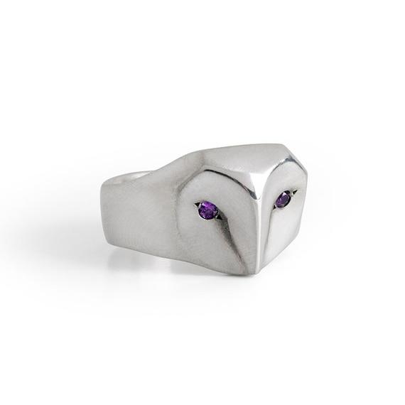 Owl Ring with Amethyst Eyes, Amethyst ring, barn owl jewelry ,animal jewelr, Amethyst birth stone, purple owl ring, Christmas gift