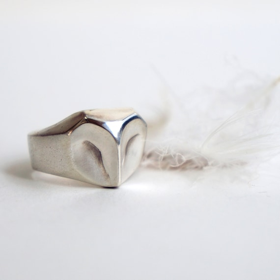 Owl Ring, barn owl sterling silver ring , silver owl, animal jewelry, gift for her, owl jewelry, owl totem, Christmas gift