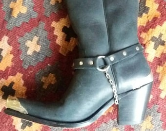 Pre loved Sancho black leather cowboy boots made in spain size 36 metal detailing silver chain detail boho bohemian festival chic