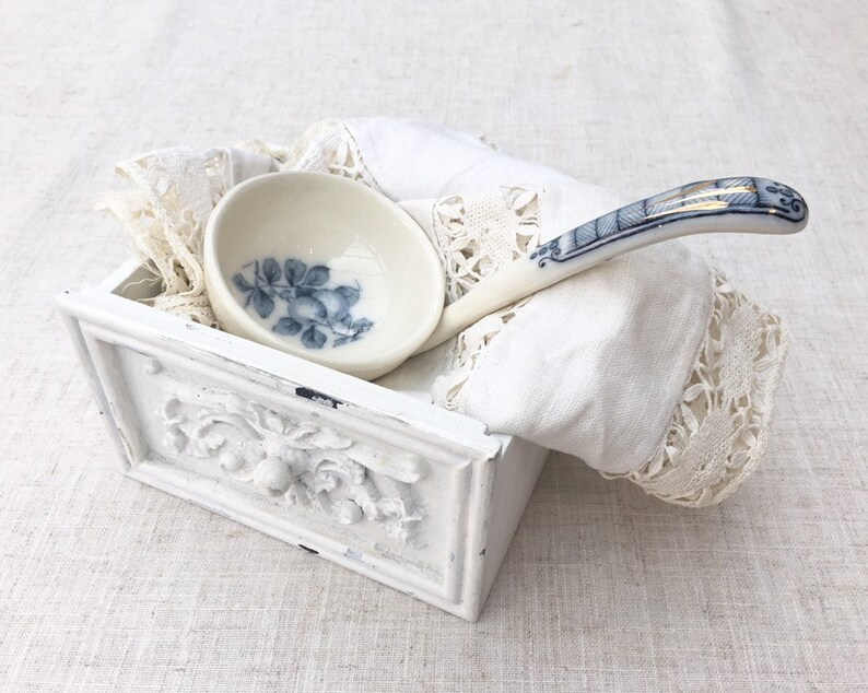 Blue and White Transfeware Serving Spoon Vintage Cutlery Antique Ceramic Ladle