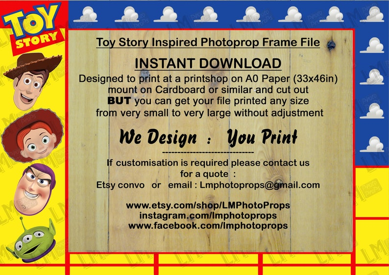 Printable DIY Movie Inspired Frame INSTANT DOWNLOAD Large Photo Prop File Perfect for Toy Story Themed Party Movie Theme Kids Party