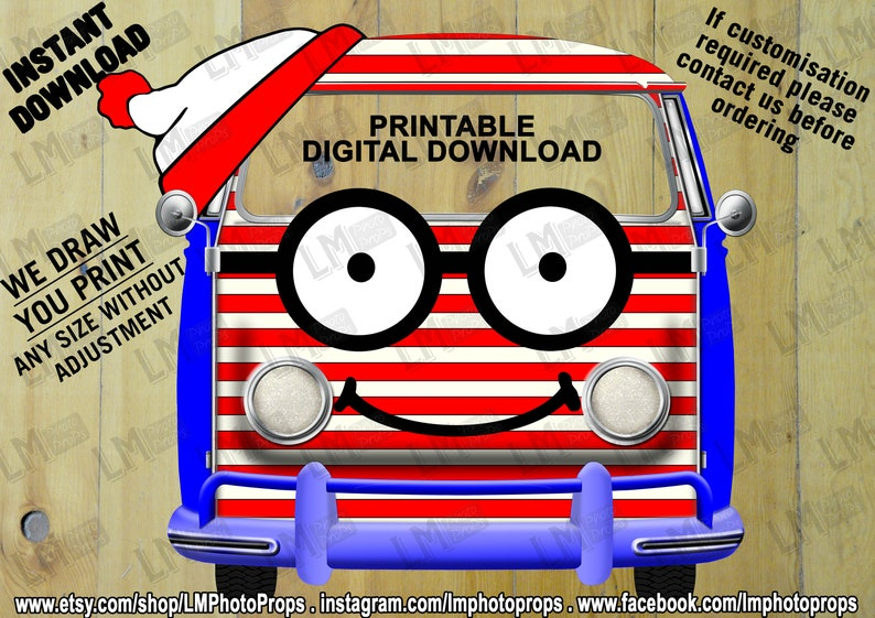 Red and White Stripe Van, INSTANT DOWNLOAD, Campervan File, Theme Party,  Party Prop File, Photobooth, DIY, Retro Van, Camper, Book Character
