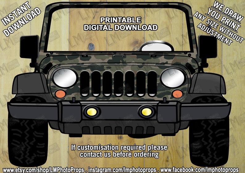 INSTANT DOWNLOAD, Camo Jeep Style, Giant Car Prop, Car Prop File,  Camouflage Jeep, Wedding Prop, Car PhotoBooth, DIY, Printable, Jeep Prop