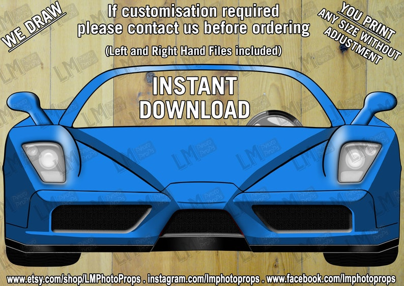 420403a555ea8 Blue Ferrari Style Photo Booth Prop File, Car Prop, Blue Car, Ferrari,  Wedding Prop, Party Prop, PhotoBooth DIY Instant Download Printable