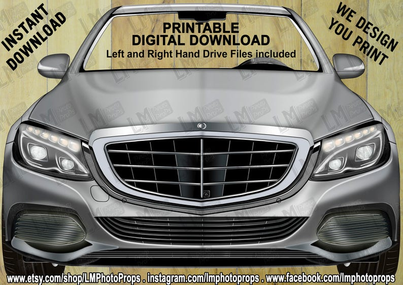 Theme Party Photo Prop Silver Car Printable Mercedes Photo Prop File Photo Booth INSTANT DOWNLOAD Mercedes Style Prop File DIY
