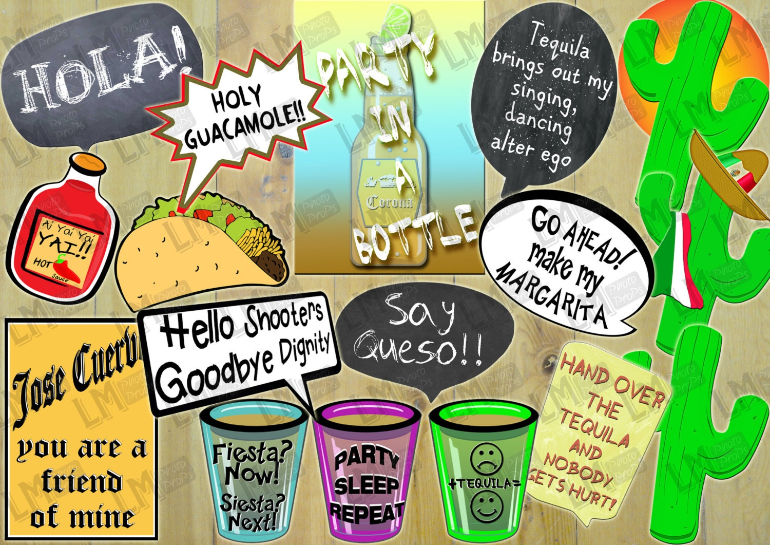 Mexican Fiesta Theme Photo Booth Props 15 Items Inc Hola Etsy