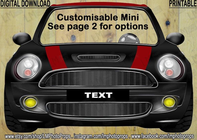 Mini Photo Prop Cars Prop PhotoBooth Mini Cooper Inspired Printable Photo Booth Prop Customised Digital Download DIY Mini Cooper Prop