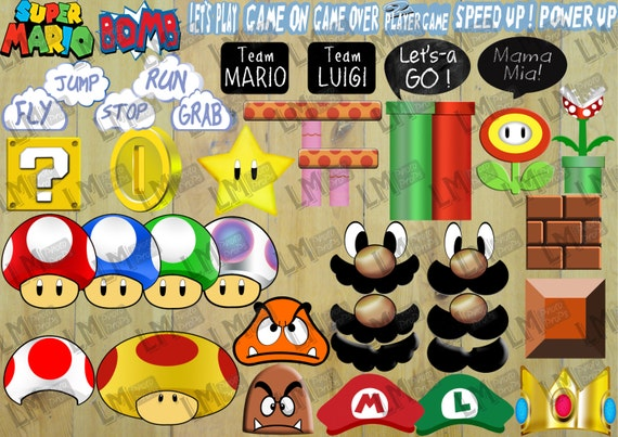 Super Mario Brothers Photo Booth Props Decor Bumper Pack