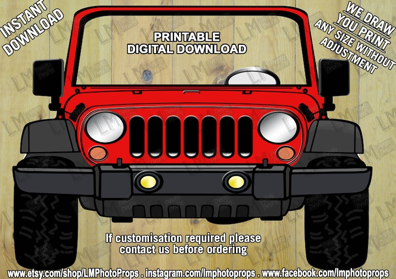 1661e93ccaa36 Red Jeep Style Photo Booth Prop - Car Prop, Cars, Red Car, Jeep Prop,  Wedding Prop, Party Prop, PhotoBooth DIY Instant Download Printable