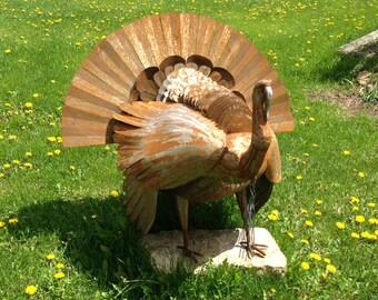 Wild turkey sculpture.