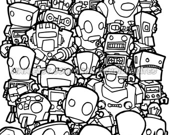 Retro Robot Colouring Page Adult Colouring Book Page One Etsy