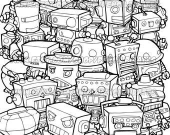 Retro Robot Colouring Page Adult Book