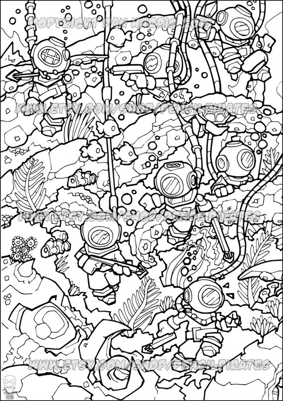 Underwater Adventure Colouring Page Adult Colouring Book Page Etsy