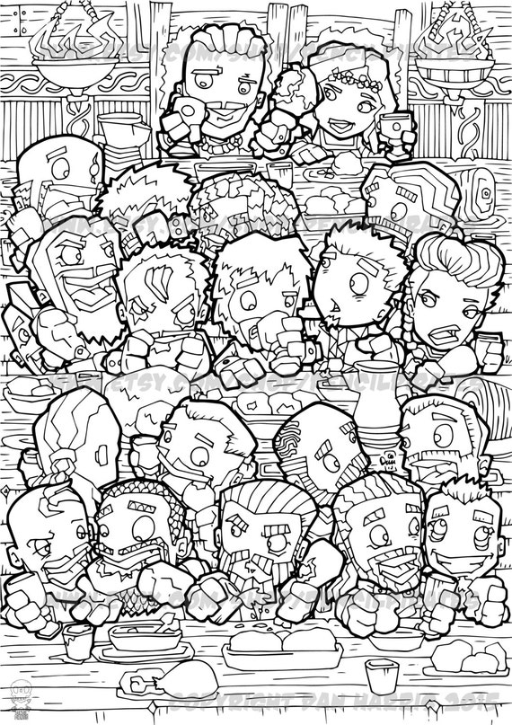 Viking Feast Colouring Page Adult Colouring Book Page One Etsy