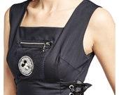 6 8 10 12 14 Long Black Gothic Corset Mickey Mouse Decal Maxi Sleeveless Dress Bib Mesh Zipper