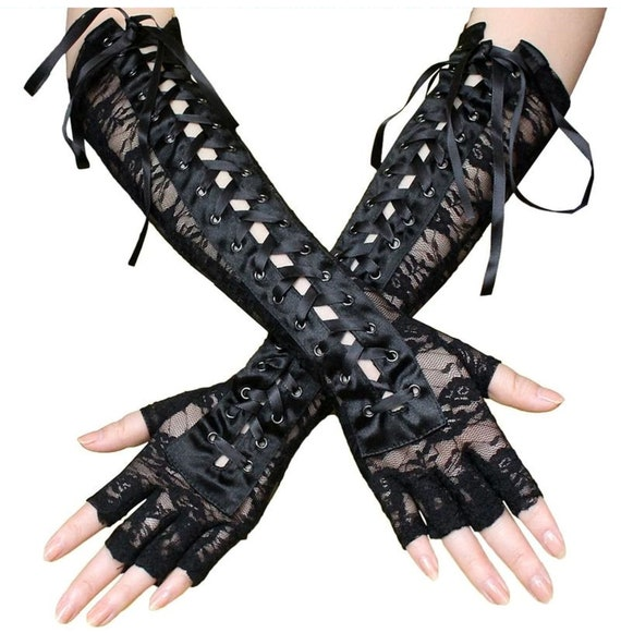 Fingerless Black Vintage Retro Steampunk Gothic Fancy Dress Lace Gloves