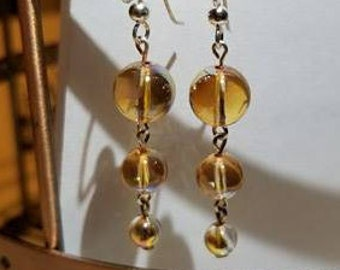 Golden Swarvoski Crystal Rounds Tier Dangle Earrings