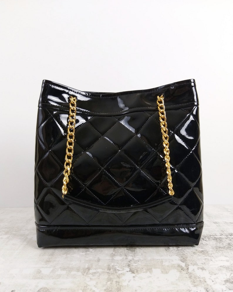 55b93761faa Black quilted bucket bag. Gold chain strap bag. Drawstring Black n silver  bucket bag. Gold plated chain strap bucket bag. Mother's day gift.
