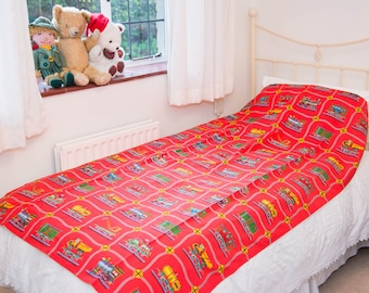Child's Red Train Single Bedspread