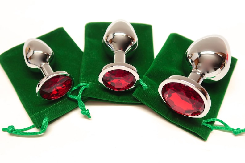 3 Pieces Sexy Butt Plug Stainless Steel Silver Finish Metal Red Silver Circle