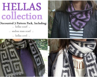 3-pack: Greek key scarf and cowl crochet patterns // Crochet pattern pack // Gifts for him // Gifts for her // Mosaic and stripe reversible