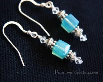 Light Blue Swarovski Earrings, Blue Crystal Earrings, gift for her under 30, Sterling Silver, Blue cube crystal Earrings, Swarovski Crystal