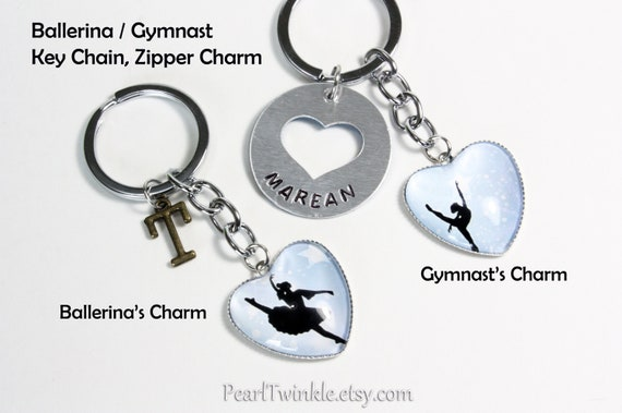 I LOVE GYMNASTICS KEYRING BAG CHARM With HEART /& GYMNAST In A Lovely Gift Box