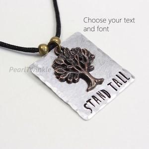 cancer sexual assault covid survivor gift pendant MeToo hand stamped survivor gift tree charm pendant Still standing im still here