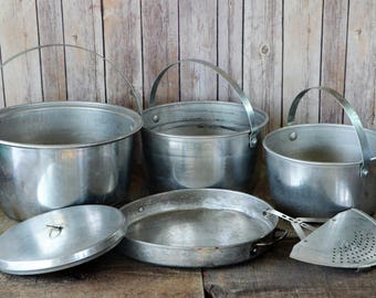 Vintage Nesting Aluminum Camping Pots/Pans (Six) 6 Piece Set, Fryer, Strainer, RV Camping Gear, Backpacking, Chuck Wagon, Hunting, Cabin