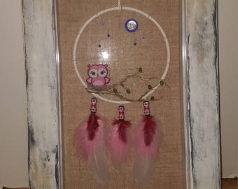 Genuine Native American Made Dream Catcher in Shadow Box with Pink Owl and Moon